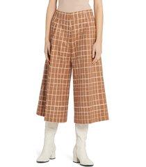 women's marni windowpane check wide leg crop pants, size 4 us - brown