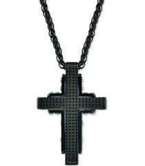 """men's textured cross 24"""" pendant necklace in black & blue ion-plated stainless steel"""