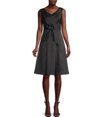 kay unger women's cap sleeve fit & flare dress - black - size 10