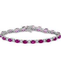 effy certified ruby (10-3/4 ct. t.w.) and diamond (1/2 ct. t.w.) tennis bracelet in 14k white gold