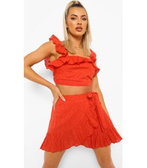 broderie top met ruches en rok, red orange