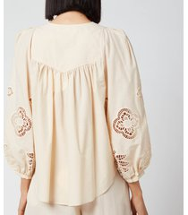 see by chloé women's cotton voile & guipure blouse - macadamia brown - eu 40/uk 12