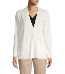 eileen fisher women's v-neck linen-blend cardigan - ivory - size xl