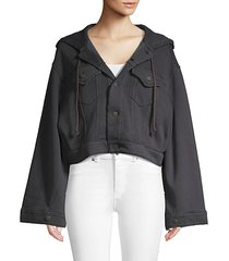 hooded cotton blend cropped jacket
