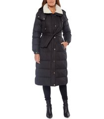 kate spade new york belted fleece-lined hooded down coat