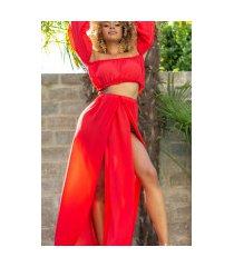 sexy set-chifon maxi rok+off-shoulder latina top rood