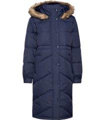 jac long down jacket w/ fur gevoerde lange jas blauw gap
