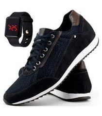 sapatênis casual dhl calçados masculino azul + relógio digital
