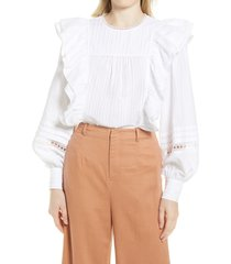 ted baker london double frill blouse, size 4 in ivory at nordstrom
