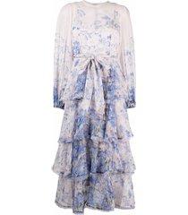 zimmermann cornflower-print tiered dress - pink