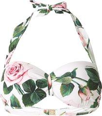 dolce & gabbana rose print bikini top - multicolour