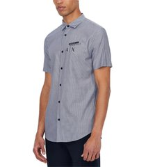 ax armani exchange men's slim-fit yarn-dyed stripe logo-print shirt