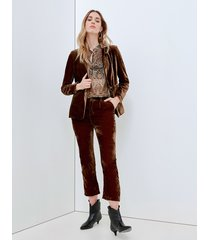 motivi pantaloni cropped in velluto donna marrone