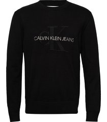 monogram sweater t-shirts long-sleeved zwart calvin klein jeans