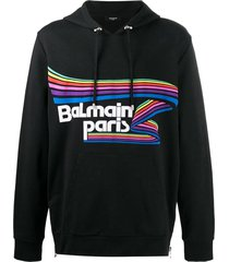 balmain oversized flock & rubber hoodie