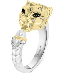 effy diamond (1/10 ct. t.w.) & black sapphire accent panther statement ring in sterling silver & 14k gold-plate