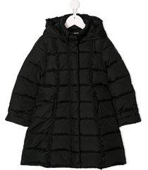 il gufo square quilted coat - black
