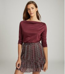 reiss faye - straight neck top in berry, womens, size xl