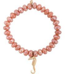 sydney evan 14kt yellow gold seahorse beaded bracelet - pink