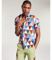 sun + stone men's mason triangle patch print short sleeve shirt, created for macy's