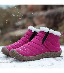 stivaletti da neve di colore solido con fodera in peluche antiscivolo