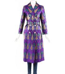 gucci pigna purple lurex brocade belted silk blend coat metallic/purple sz: s