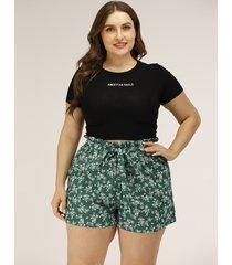 plus talla verde cinturón diseño calico shorts