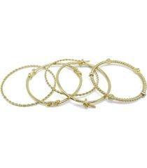 inc gold-tone 5-pc. set crystal & knot bangle bracelets, created for macy's