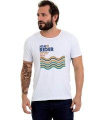 camiseta corte à fio joss santos rider branca - kanui