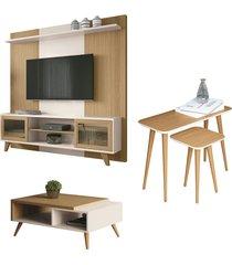 """conjunto painel home theater para tv até 60\"""" mesa de centro lateral e apoio choice off white/freijó - gran belo"""