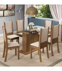 conjunto sala de jantar madesa modena mesa tampo de vidro com 6 cadeiras marrom - marrom - dafiti