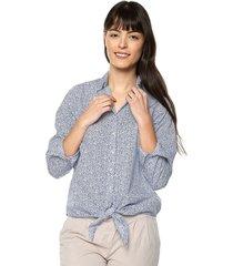 camisa jackie color siete para mujer - azul