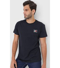 camiseta tommy hilfiger bordada azul-marinho