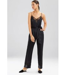 lolita lace jumpsuit, women's, black, 100% silk, size l, josie natori