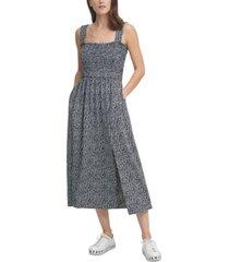 dkny sleeveless smocked midi dress
