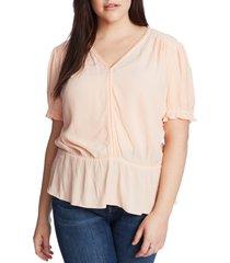 plus size women's 1.state circle trim peplum blouse, size 1x - ivory