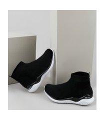 tênis meia feminino activitta esportivo knit cano curto preto