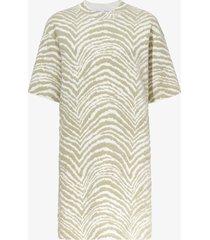 proenza schouler white label animal jacquard knit dress stone/white/green l