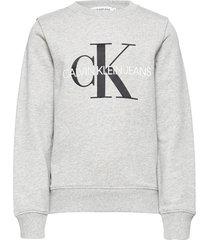 monogram logo sweatshirt sweat-shirt trui grijs calvin klein