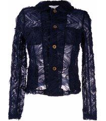 comme des garçons girl semi-sheer textured jacket - blue