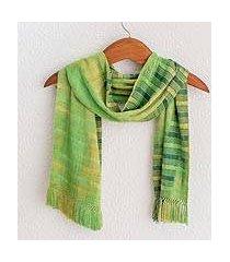 rayon chenille scarf, 'evergreen' (guatemala)