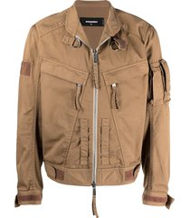 dsquared2 touch strap-detail jacket - brown