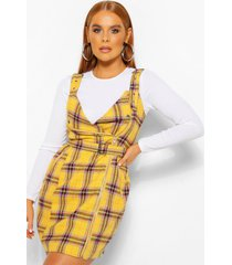 flannel biker detail pinny dress, mustard