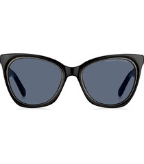 women's marc jacobs 54mm cat eye sunglasses - black glitter/ grey blue