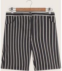 bermuda con bolsillos estampada rayas con elástico en posterior-14