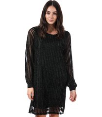 vero moda shane sparkle stripe dress size 14 in black