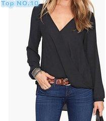 sexy deep v neck causal women blouses chiffon shirts long sleeve tops blouse fem