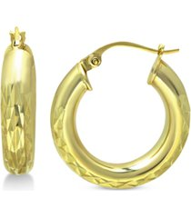 """giani bernini small textured hoop earrings in 18k gold-plated sterling silver, 3/4"""" created for macy's"""