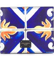 dolce & gabbana tile print bi-fold wallet - blue