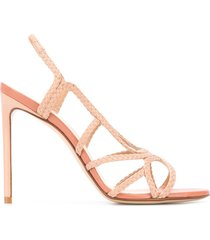 francesco russo braided 110mm open-toe sandals - pink